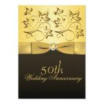50.o Oro del aniversario y floral negro Jewelled Invitación Personalizada