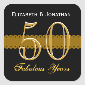 50 o Oro del aniversario y V002 negro Calcomanía Cuadrada