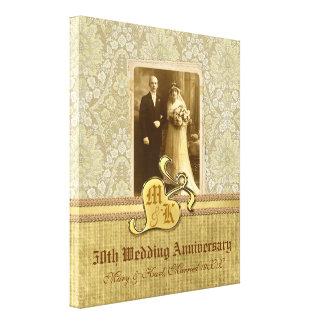 50.o Oro del damasco de la antigüedad del aniversa Impresión En Lienzo