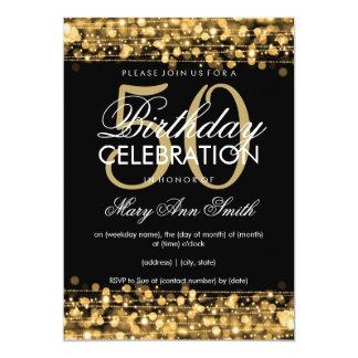 50.o oro elegante de las chispas de la fiesta de invitación 12,7 x 17,8 cm