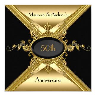 """50.o Oro elegante del aniversario de boda de oro Invitación 5.25"""" X 5.25"""""""