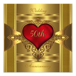 """50.o Oro Jewelled rojo adornado 2 del corazón del Invitación 5.25"""" X 5.25"""""""