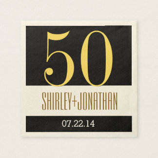 50.o Oro moderno del aniversario del oro y V02 Servilleta Desechable