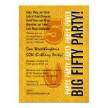 50.o Oro moderno del cumpleaños y Grunge negro Invitaciones Personalizada