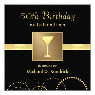 50 o Oro negro formal de las invitaciones de la fi
