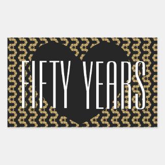 50.o Oro negro V02A adornado del aniversario Pegatina Rectangular