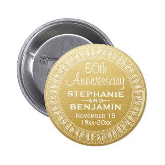 50.o Oro personalizado del aniversario de boda Pin Redondo De 2 Pulgadas