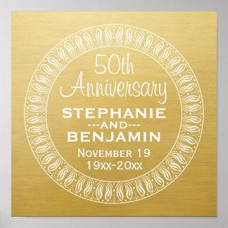 50.o Oro personalizado del aniversario de boda Póster
