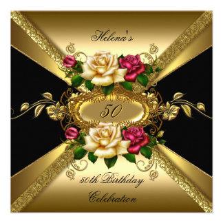 50.o Oro poner crema rojo de los rosas de la fiest