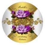 50.o Oro púrpura R de los rosas elegantes de la fi Invitación