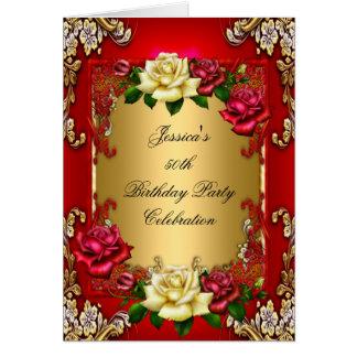 50.o oro rojo de la fiesta de cumpleaños de la inv tarjeta de felicitación