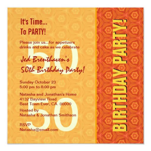 """50.o Oro y naranja modernos C421 del cumpleaños Invitación 5.25"""" X 5.25"""""""