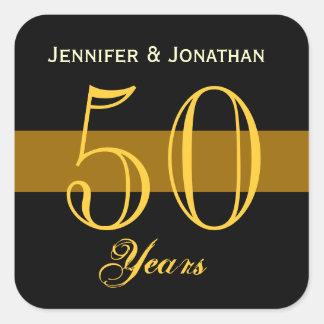 50 o Oro y negro del aniversario Calcomanía Cuadradas Personalizada