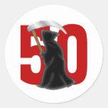 50.o Parca divertido del cumpleaños Pegatinas Redondas