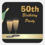 50.o Pegatinas de la fiesta de cumpleaños Calcomanía Cuadrada Personalizada