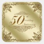 50.o Pegatinas del aniversario de boda Calcomania Cuadradas