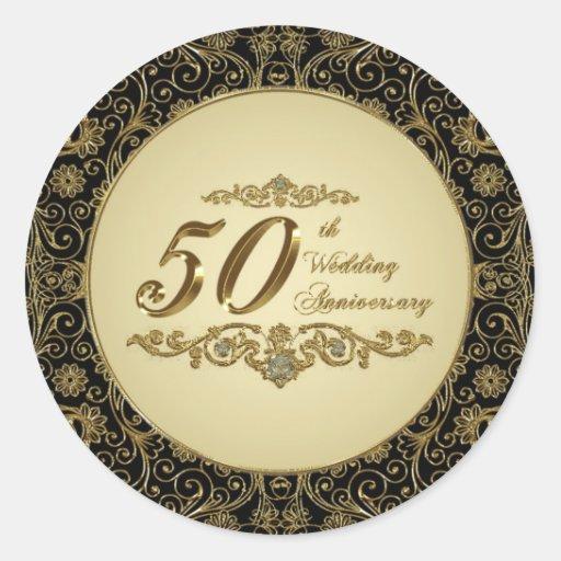 50.o Pegatinas del aniversario de boda Pegatinas Redondas