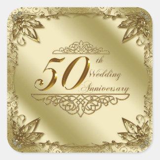 50.o Pegatinas del aniversario de boda Pegatina Cuadrada