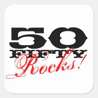 50.o ¡Pegatinas del cumpleaños el | 50 rocas! Colcomanias Cuadradas