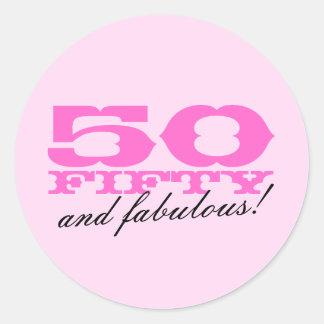 50.o Pegatinas del cumpleaños el | 50 y fabuloso Etiqueta Redonda