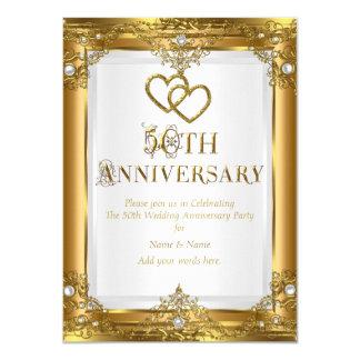 """50.o Perla blanca del oro elegante del aniversario Invitación 4.5"""" X 6.25"""""""