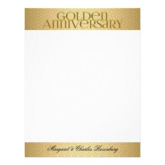 50.o Personalizado de Annivsersary del boda de oro Plantilla De Membrete