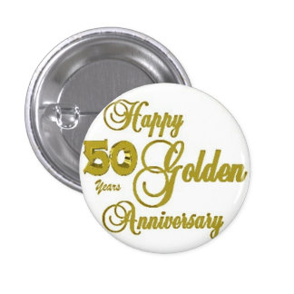 50.o Pin feliz del aniversario Pin Redondo 2,5 Cm