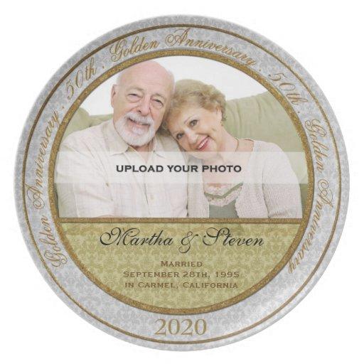 50.o Placa de la foto del aniversario de boda Platos