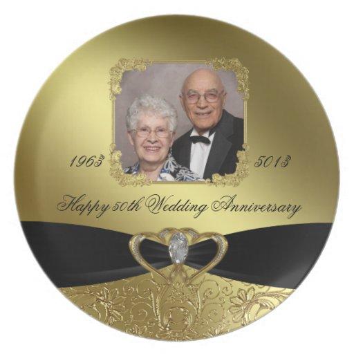 50.o Placa de la foto del aniversario de boda Platos Para Fiestas