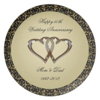 50.o Placa de la melamina del aniversario de boda Platos Para Fiestas