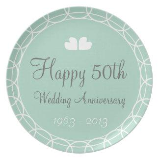 50.o Placa de la menta del aniversario de boda Platos