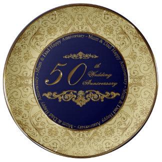 50.o Placa de la porcelana del aniversario de boda Plato De Cerámica