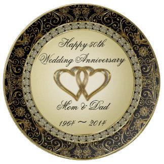 50.o Placa de la porcelana del aniversario de boda Platos De Cerámica