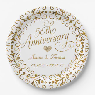 50.o Placa de papel del aniversario de boda de oro Platos De Papel