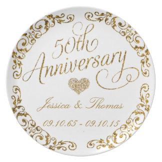 50.o Placa decorativa del aniversario de boda de Plato Para Fiesta