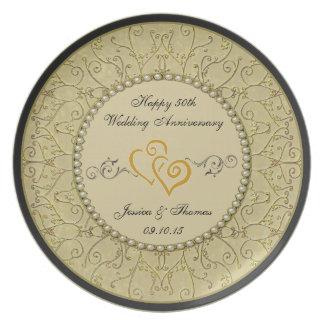 50.o Placa decorativa del aniversario de boda de Platos De Comidas