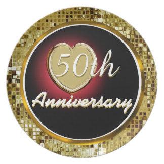 50.o Placa del aniversario de boda de oro Platos Para Fiestas