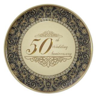 50.o Placa del aniversario de boda Platos De Comidas