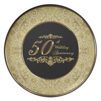 50.o Placa del aniversario de boda Plato Para Fiesta