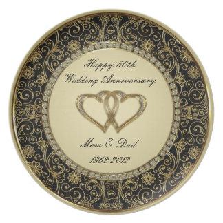 50.o Placa del aniversario de boda Plato De Cena