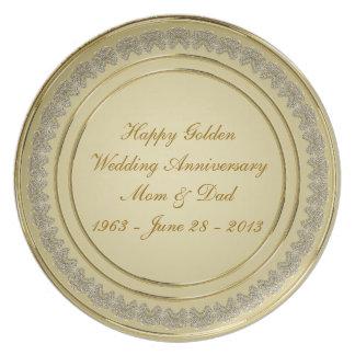50.o Placa del aniversario de boda Plato