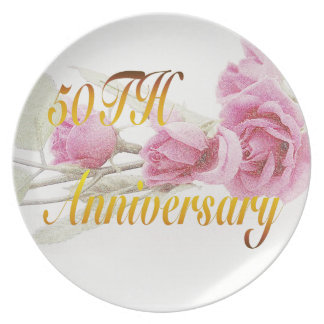 50.o Placa del aniversario Platos Para Fiestas