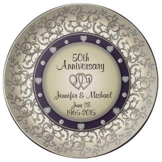 50.o Placa del monograma del aniversario de boda Plato De Cerámica