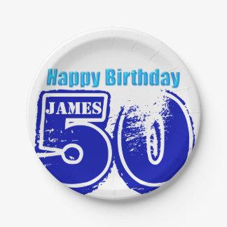50.o placas de papel personalizadas cumpleaños plato de papel de 7 pulgadas