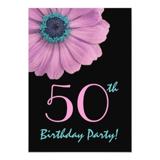 """50.o Plantilla del cumpleaños - margarita rosada Invitación 5"""" X 7"""""""