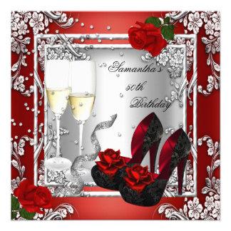 50 o Plata del rosa rojo de la fiesta de cumpleaño Comunicado Personalizado