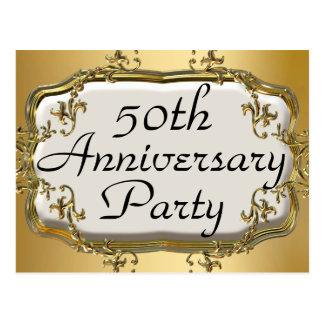 50.o Postales de oro de la invitación de la fiesta