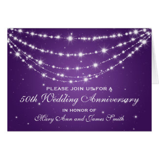 50 o Púrpura de cadena chispeante del aniversario Felicitacion