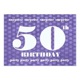 50.o Púrpura de la plantilla de la fiesta de Invitación 12,7 X 17,8 Cm