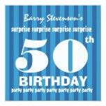 50.o Rayas azules A06 de la fiesta de cumpleaños Comunicado Personalizado